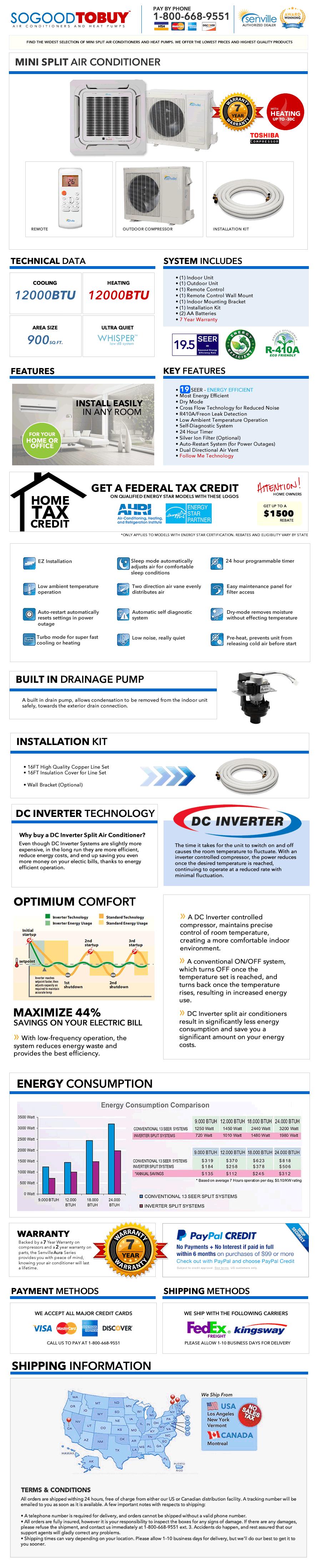 12000 Btu Ductless Ac Mini Split Air Conditioner Ceiling